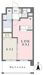 ランドマーク原 2階1LDKの間取り