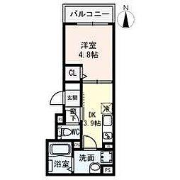 名古屋市営名城線 名城公園駅 徒歩8分の賃貸アパート 3階1DKの間取り