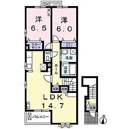 JR東海道本線 大垣駅 バス18分 荒尾6丁目下車 徒歩8分の賃貸アパート 2階2LDKの間取り