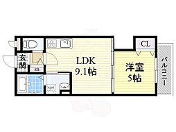 京阪本線 大和田駅 徒歩10分の賃貸アパート 3階1LDKの間取り