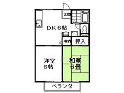 松栄ハイツB棟 2階2DKの間取り