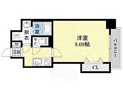 ドゥエリングASAHI 9階1Kの間取り