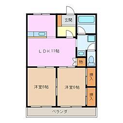 三重県四日市市城東町の賃貸アパートの間取り