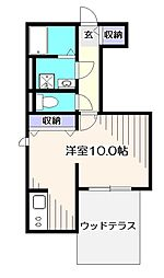 JR中央本線 東小金井駅 徒歩3分の賃貸アパート 1階ワンルームの間取り