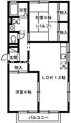 岡山県岡山市南区新福2丁目の賃貸アパートの間取り