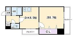 アマデウス麩屋町二条 7階1DKの間取り