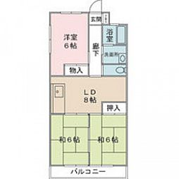 JR山陽本線 五日市駅 徒歩12分の賃貸マンション 2階3DKの間取り