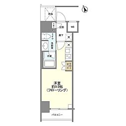 JR山手線 新橋駅 徒歩6分の賃貸マンション 7階ワンルームの間取り
