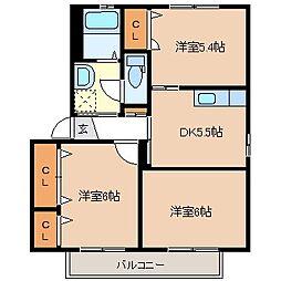 メゾンフィオーレB[1階]の間取り