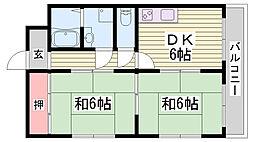 JR播但線 寺前駅 徒歩5分の賃貸マンション 3階2DKの間取り
