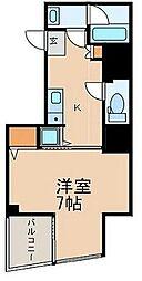 都営新宿線 曙橋駅 徒歩3分の賃貸マンション 2階1Kの間取り