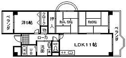 フローラル岸和田[3階]の間取り