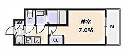 Osaka Metro千日前線 桜川駅 徒歩4分の賃貸マンション 14階1Kの間取り