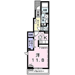 養老鉄道 西大垣駅 徒歩23分の賃貸アパート 1階1Kの間取り