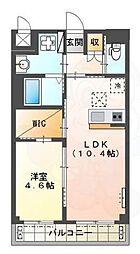 Osaka Metro御堂筋線 新金岡駅 徒歩10分の賃貸マンション 3階1LDKの間取り