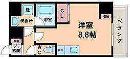 エスパシオ・コモド大阪新町 6階ワンルームの間取り
