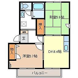 サンライズ21 B[2階]の間取り