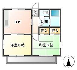 クリフサイドB[2階]の間取り