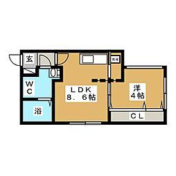 ラフィネ北円山[3階]の間取り
