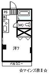 マインズ泉II 3階ワンルームの間取り