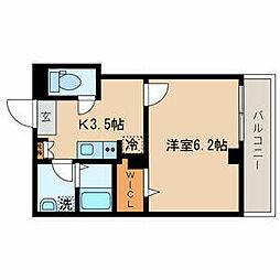 JR山手線 目黒駅 徒歩8分の賃貸マンション 2階1Kの間取り