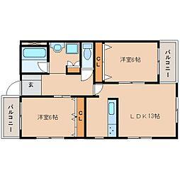 静岡県静岡市清水区有東坂の賃貸マンションの間取り