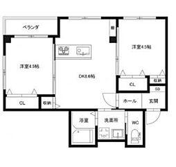 徳島県徳島市応神町吉成の賃貸アパートの間取り