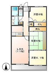 愛知県名古屋市名東区西山本通3丁目の賃貸マンションの間取り