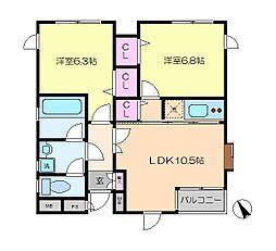 小田急江ノ島線 鵠沼海岸駅 徒歩2分の賃貸マンション 1階2LDKの間取り