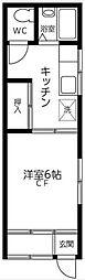 東京都北区赤羽南1丁目の賃貸アパートの間取り
