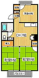 千葉県市川市大野町2丁目の賃貸アパートの間取り