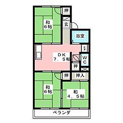 コーポラス田中[1階]の間取り