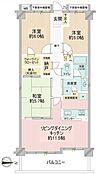 「間取り」3LDK(洋室1)6帖(洋室2)5帖(和室)5.7帖(LDK)11.5帖東向きの眺望・陽当り・通風が良い3階部分のお部屋です。