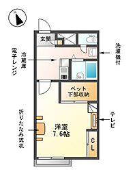 愛知県清須市朝日貝塚の賃貸アパートの間取り