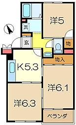 横浜上郷ハイツ[3階]の間取り