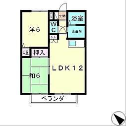 滋賀県大津市大物の賃貸アパートの間取り