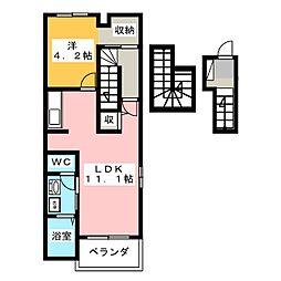 メゾンサンリル 3階1Kの間取り