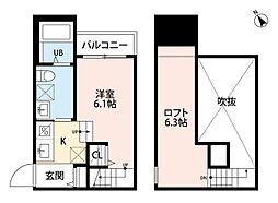 プレジール南福岡 1階ワンルームの間取り