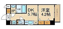 エステムコート京都東寺 朱雀邸 3階1DKの間取り