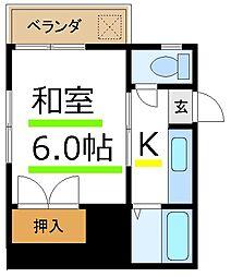 JR山手線 大塚駅 徒歩12分の賃貸アパート 2階1Kの間取り