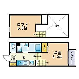 D-rise春日 2階ワンルームの間取り