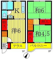 [テラスハウス] 千葉県柏市花野井 の賃貸【/】の間取り
