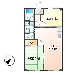コーポFUKUJIN[1階]の間取り