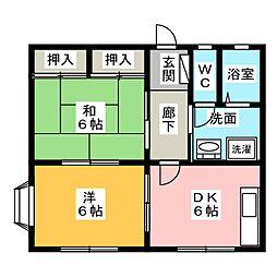 サンハイツカモシダ A棟[1階]の間取り