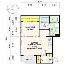 JR中央本線 千種駅 徒歩10分の賃貸アパート 3階1LDKの間取り