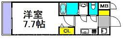 S-RESIDENCE三国 5階1Kの間取り