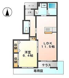 愛知県北名古屋市北野五反畑の賃貸アパートの間取り