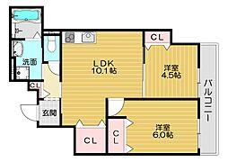 京阪本線 西三荘駅 徒歩13分の賃貸アパート 3階2LDKの間取り