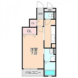 阪急宝塚本線 池田駅 徒歩14分の賃貸マンション 3階1Kの間取り