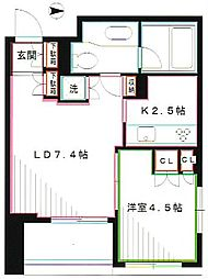 JR中央本線 三鷹駅 徒歩3分の賃貸マンション 8階1LDKの間取り